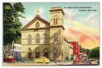 Mid-1900s St. Joseph's Church and School, Kingston, NY Postcard