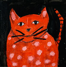 Big Fat Orange Cat Original Outsider Art Animal Painting Katie Jeanne Wood