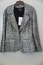 NWT  St. John Couture Silver/Caviar Metallic Blazer Jacket Size 14 MSRP $995