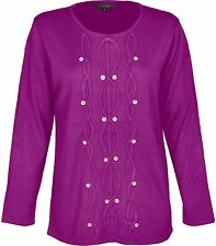 Womens Knitted Jumper Long Sleeves Front Button Design