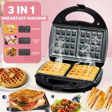 3 in 1 Electric Sandwiches Maker Breakfast Press Waffles Toast Bread Non-Stick