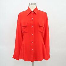 Amour Vert Silk Blouse Shirt Womens M Medium Orange Red Sustainable Fashion USA