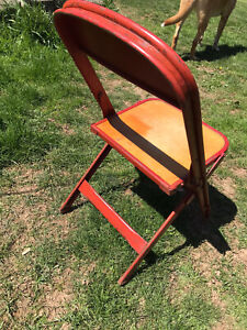 Vintage Folding Chair Child School 1954 Red Metal Wood Plank Seat