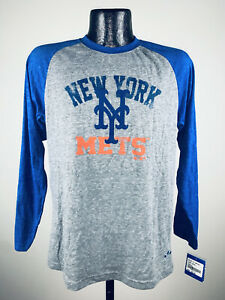Youth New York Mets Adidas Tri-Blend Valedictorian Long Sleeve Raglan Shirt M