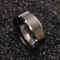 8mm Tungsten Carbide Silver Ring Black Polished Center Mens Wedding Band Jewelry