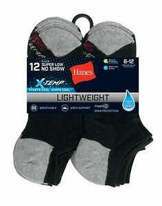 No Show Socks 12-Pack Hanes Super Low Mens FreshIQ X-Temp Black or White sz 6-12