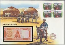 Geldschein Banknote Banknotenbrief Turkmenistan P-1Schein +Briefmarkenausgabe