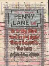 Beatles Penny Lane Liverpool Sign Altered Art Print Upcycled Vintage Dictionary