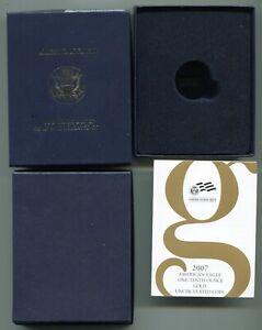 2007 American Eagle Gold 1/10 Unc Coin BOX/COA-NO COIN/CAPSULE Quantity Discount