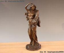 West Art Deco Bronze Copper Blindfold Beautiful Girl Lady Woman Statue Sculpture