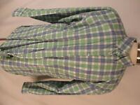 Orvis Mens Blue Green Plaid Long Sleeve Cotton Shirt XL