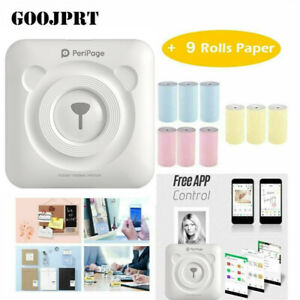 PeriPage Printer Thermal Photo Portable Wireless Mini Pocket With 9 Rolls Paper