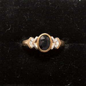 9 ct Gold, 6 x Diamond  Sapphire Ring Size US 7 AUST N1/2 Weight 2.4 grams