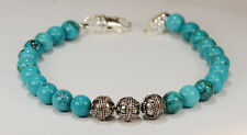BEENJEWELED TURQUOISE + BALI BEAD BRACELET~.925 STERLING SILVER~8MM~8 1/2 INCHES