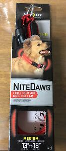 Nite Ize Nite Dawg Medium Safety LED Light Up Flash Glow Dog Collar in Red *NEW*