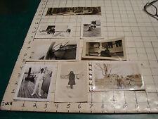 vintage PHOTO: 8 misc, log cabin, kids in bucket, dogs, sailer, sled