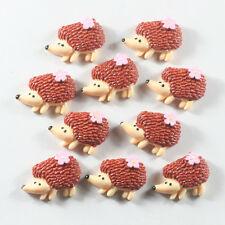 10pc Spring Chocolate Hedgehog with Flowers Animal Resin Flatback Hair Bow Craft