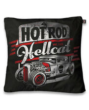 HOT ROD HELLCAT CAR SKULL CUSHION PILLOW COVER TATTOO BIKER ROCKABILLY RETRO