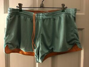 Nike Gym Shorts Womens XL Loose Fit, Drawstring, Aqua Blue Mesh W/ Orange Lining