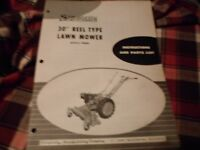 """Original OEM Simplicity 30"""" Reel Lawn Mower Instructions and Parts List # 990058"""