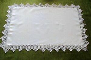 Antique Pillowcase (1) with hand crochet trim - white linen