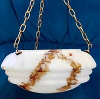 Rare Art Deco Marbleised Glass Flycatcher Plaffonier Light Shade, Hooks & Chains