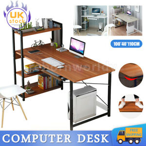 Computer Desk Wood With Keyboard Tray Bookshelf Office Study Workstation Home