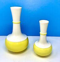 Lot 2 Vintage Royal Haeger MCM Banded Flower Vase Yellow Ceramic EXCELLENT