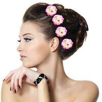Set 5 Haarnadeln POSA Rosen grosse Blume pink Hochzeit Kommunion Haarschmuck NEU