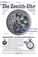 Zenith Uhr XL Reklame 1907 Taschenuhr Schweiz Grand Prix Paris Zeit Werbung