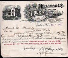 1907 Spokane WA Liquors Wines Cigars D Holzman & Co Vintage Letter Head Rare