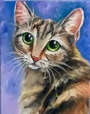 Yvette Andino Art original oil tabby kitty cat face painting 10x8 unframed