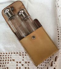 Leather Travel Case With 2 Glass Bottles & Svr Plate Screw Lids/glass Stoppers