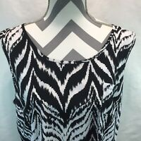 Style & Co Blouse Black White Zebra Print Sleeveless Shirt Tank Top 18 GG5