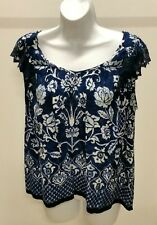 Forbidden Los Angeles Blue White Floral Ruffle Sleeve Top Blouse Tunic Size: L