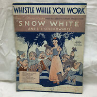 Vintage 1937 Disneys Snow White Whistle While You Work 1937 Sheet Music