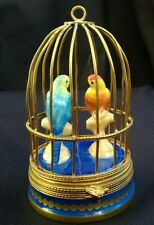 New ListingVtg Rochard Limoges Macaw Parrots In Bird Cage Box - Peint Main - France Rare