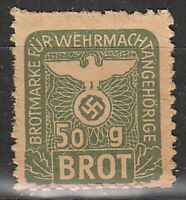 Stamp Germany Revenue WW2 3rd Reich War Bread 50g Wehrmacht MNG