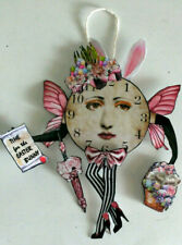 Time Flies Hanging Clock Fairies Paper Doll Ornament 3 Designs Altered Art OOAK