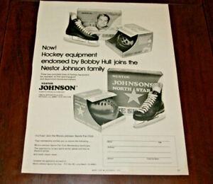 Vintage Print AD Art Paper 1974 Bobby Hull Johnson's North Star Hockey Skates