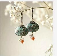 Flower 925 Silver Turquoise Vintage Ear Hook Drop Dangle Hoop Wedding Earrings