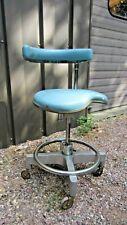 Vintage Den-Tal-Ez Tall Dental Rolling Posture Comfort Chair - Blue