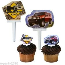 H2 HUMMER XING CUPCAKE PICKS (12) ~ Birthday Party Supplies Cake Utility Vehicle