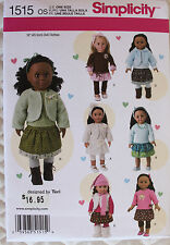 """18"""" GIRL DOLL CLOTHES Simplicity Sewing Pattern # 1515 American Made NEW Uncut"""