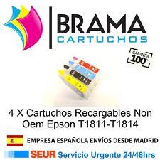 4 X CARTUCHOS RECARGABLES NONOEM EPSON T1811 XP-401 XP-204 XP-200 XP-300 XP-400