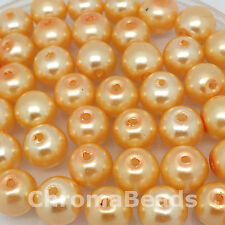 6mm Glass faux Pearls - Champagne Gold - 100 beads, jewellery making