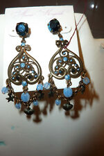 France Chandelier Earrings with Blue Crystals and Star and Heart Dangles, posts
