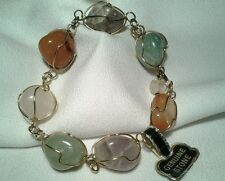 Vintage Estate Gold Wire Wrapped Stone Multi Colored Bracelet & Earring Set NWT