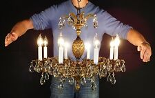 MASSIVE Antique French Empire Bronze 8 Lite Lead Crystal Pineapple Chandelier
