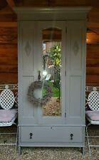 Antique Vintage Edwardian painted Oak wardrobe/armoire cupboard with mirror
